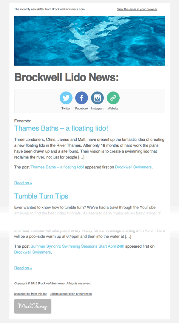 Newsletter Sent Monthly From Brockwell Swimmers