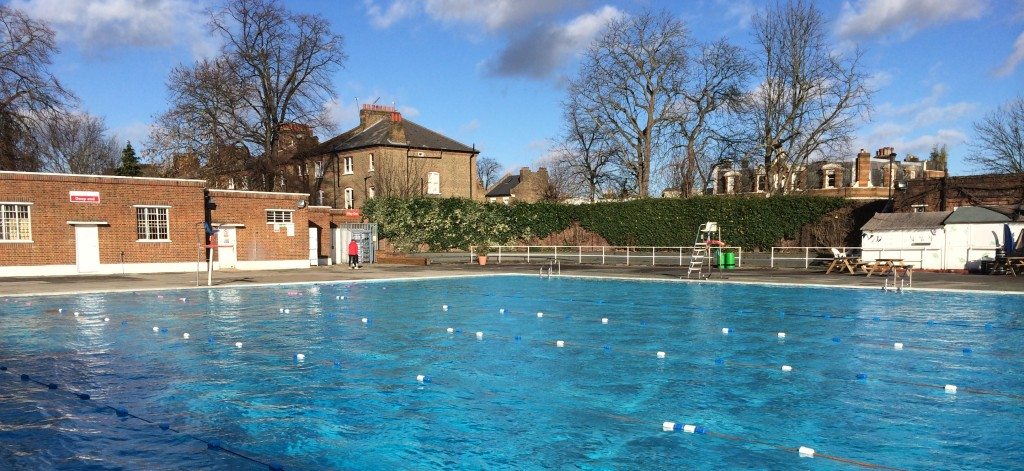 Brockwell Lido, an unheated open air swimming pool situated in South London.